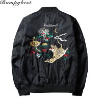 New Men Jacket Embroidery Tiger Coat Jacket Man Pilots MA1 Jacket Veste Men Fashion Outwear Plus
