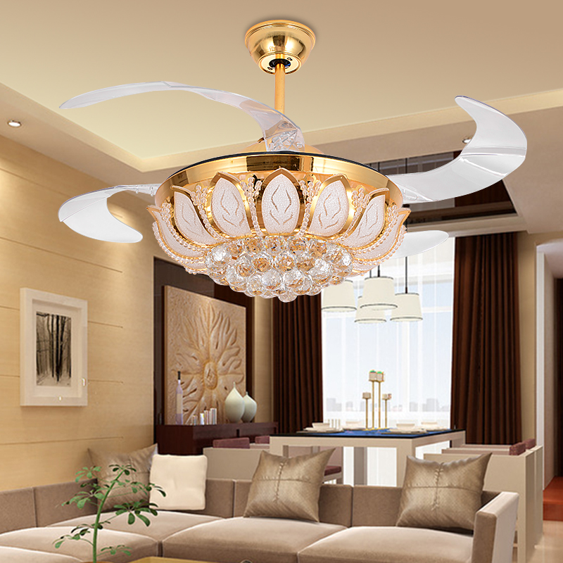 Led crystal invisible retractable ceiling fan led lampled light led crystal invisible retractable ceiling fan led lampled lightceiling lightsled ceiling lightceiling lamp for foyer bedroom in ceiling fans from lights aloadofball Images