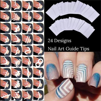 24 Sheets/Set Style French Tip Guides Finger Manicure Straight Wavy Line Star Shape Manicure Stencil Nail Art DIY Sticky Маникюр