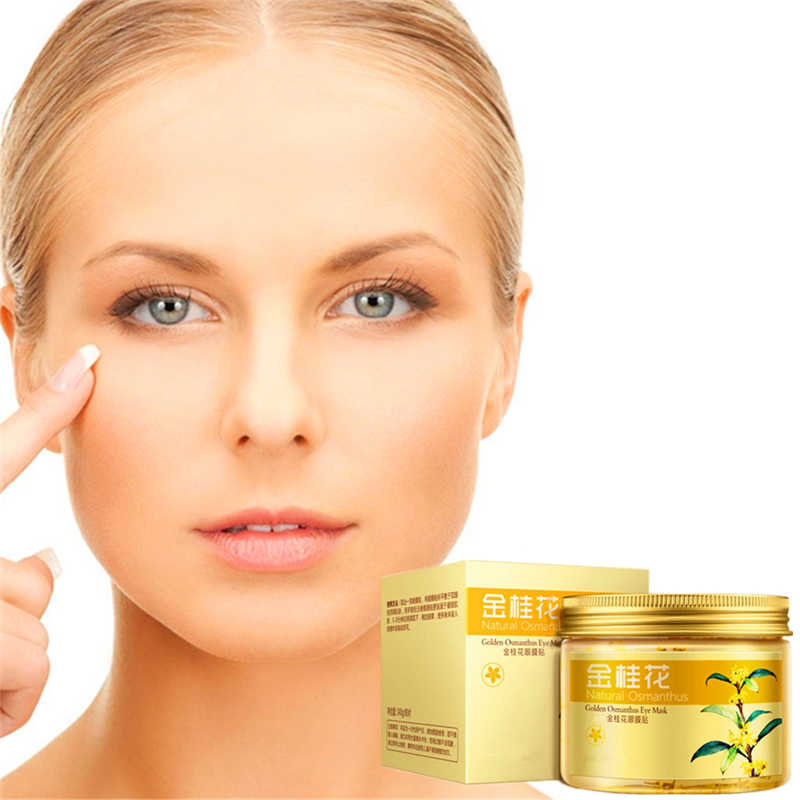 80pcs Cheap Gold Osmanthus eye mask women Collagen gel whey protein face care sleep patches health mascaras de dormir