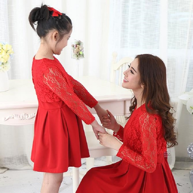 2017 autumn mama mother daughter dresses lace wedding