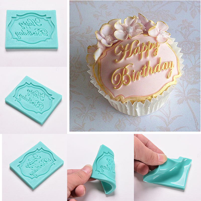 Happy Birthday Silicone Icing Mould Cupcake Baking Chocolate Topper decorating