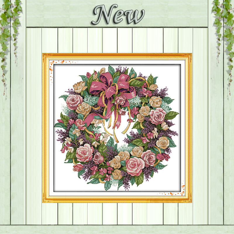 A Wreath Of Roses Flowers Paintings Counted Printed On Canvas Needlework Embroidery Sets DMC 11CT 14CT Chinese Cross Stitch Kits