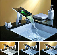 3 PCS Set Deck Mounted LED Waterfall Faucets Mixers Taps Water Power LED Mixer Bath Faucets