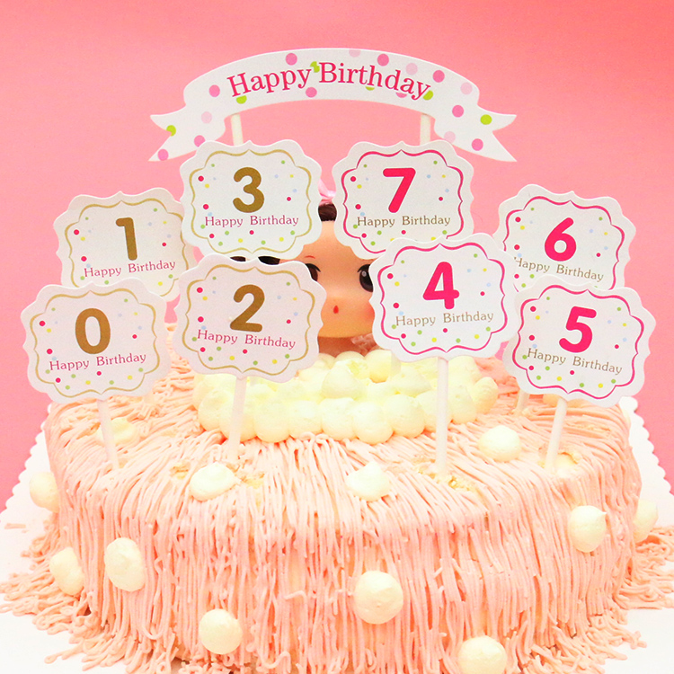 1 Pcs Number 0 9 Birthday Cake Cup Cartoon Party Creative Small Flag Wedding English Happy Card
