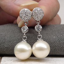 925 silver real natural big Only 925 Olympic silver round  earrings long natural pearls genuine temperament ladies jewelr
