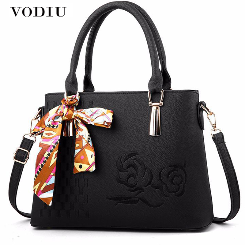 Women <font><b>Handbag</b></font> Women Bag Leather Women Shoulder Bag Crossbody Bags For Female Flower Embroideried Lady Rivet Minimalist Designer