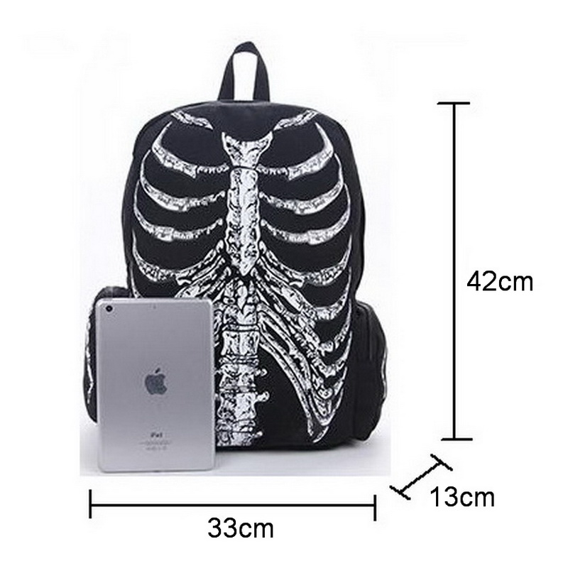 Image 5 - DIINOVIVVO Gothic Women Backpack School Punk Skull Skeleton 