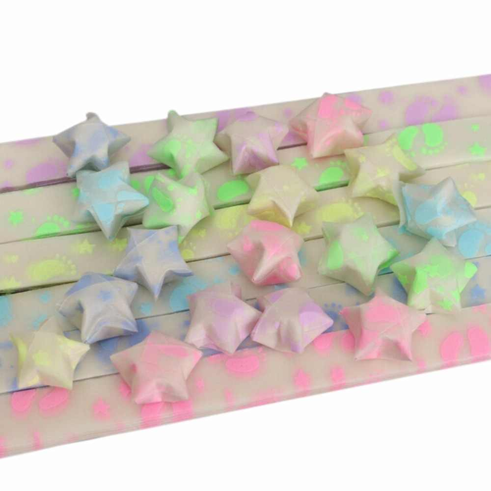 DIY Footprint Lucky Romantic Handmade Folding Strips Origami Luminous Ribbon Kit Paper Crafts Wishes Stars Christmas Gifts 30Pcs