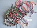 Lot 10 pcs Colourful Thread HandMade Rock Punk Spike Acrylic Bead Rivet Bracelet