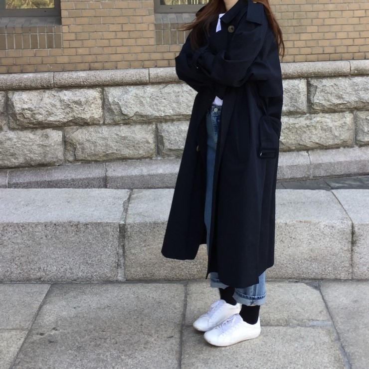 Windbreaker Female With Belt Women Fashion Clothes Eam Women Black Long   Trench   Coat Loose Double-breasted Overcoats For Girls