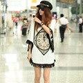 Япония корейский лето бита рукав геометрический печать топы для женщины T рубашка кисточка без тары свободного покроя хлопок T - рубашки