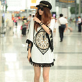 Japan Korean Fashion New Summer 2014 Bat Sleeve Geometric Printed Tops For Women T Shirt Tassel Loose Casual Cotton T-Shirts
