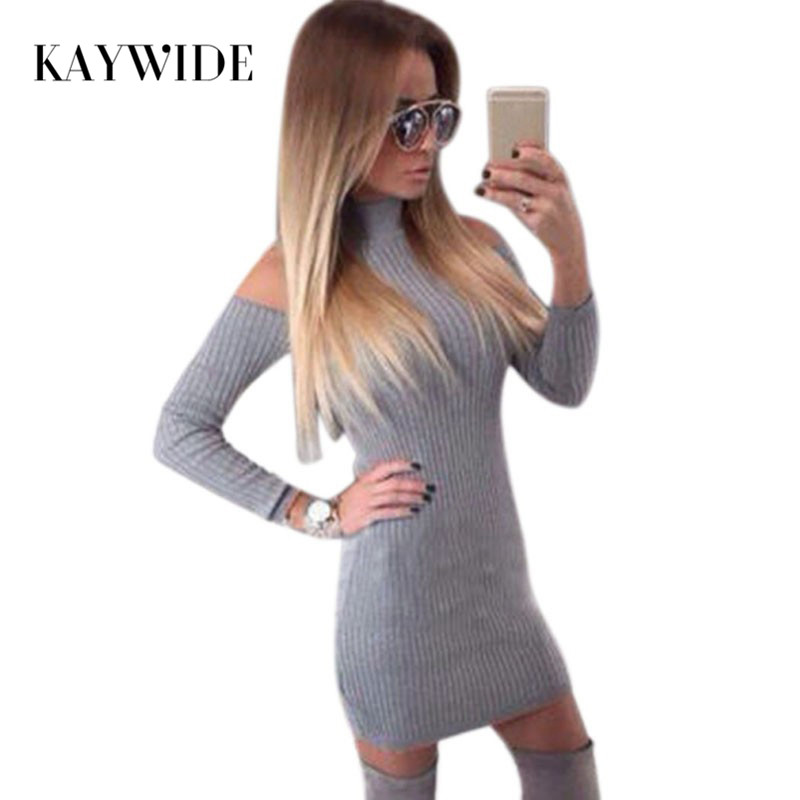 Kaywide New Arrival Rib Winter Dress Women Turtleneck Off The Shoulder Sexy Dresses Full Sleeve Elegant