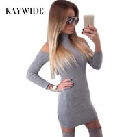 New Arrival Rib Cotton Winter Dress Women Turtleneck Off The Shoulder Sexy Dresses Full Sleeve Elegant