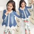 Kids Girls New Denim Jacket Korean Ladies Clothing Lace Princess Cowboy Sand Coat