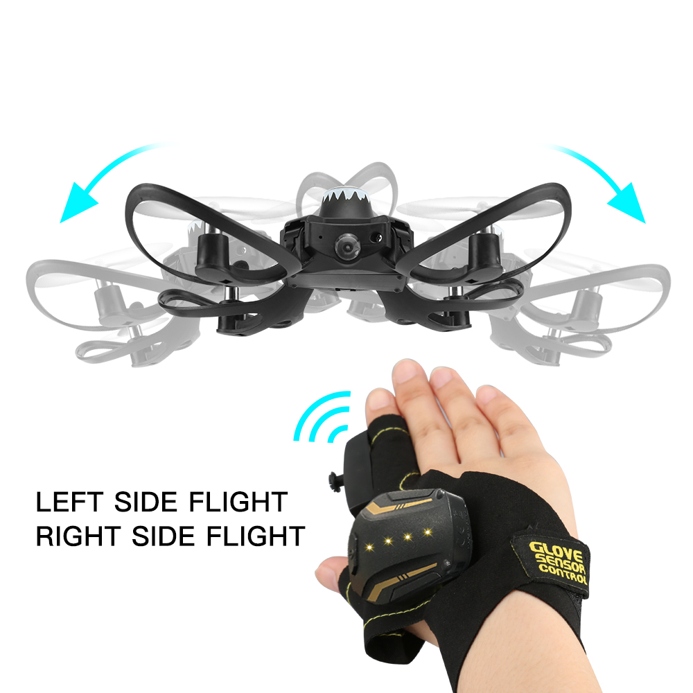 RC Drones W606-16 2.4G Glove Gesture Movement Foldable Selfie   Fly Camera Drones With Camera HD Quadrocopter Toys(China)