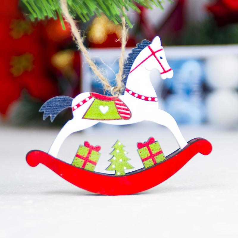 aliexpresscom buy 1pc wooden horse christmas tree pendant ornaments xmas door hanging christmas decorations for home party new year gift 11040 from