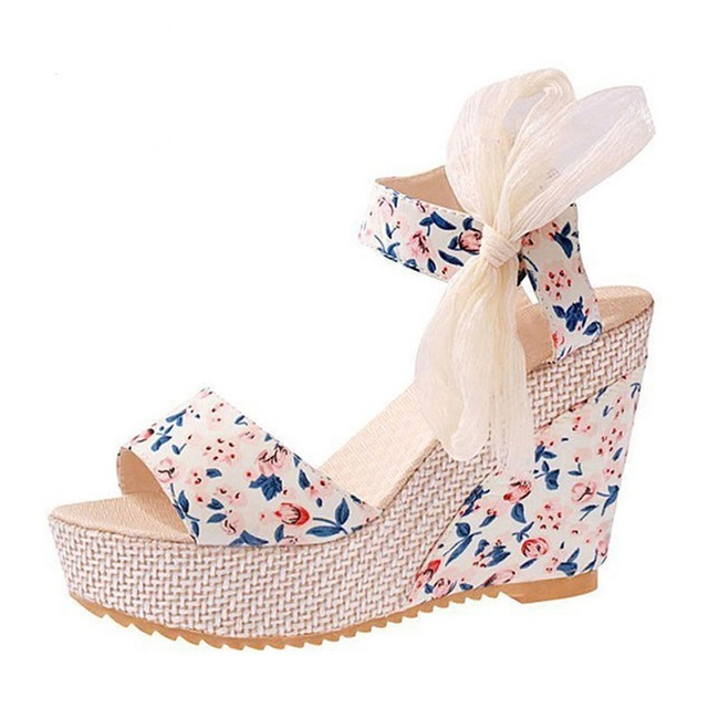3434c5a91d5d2a Floral Wedges Sandals Summer Platform Gladiator Sandals Nice NEW Shoes  Woman Casual Ankle Strap High Heels