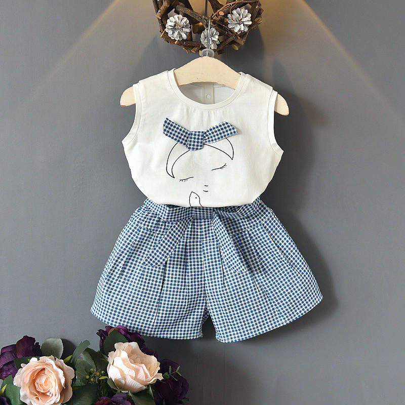 2019 new fashion girls summer suit cotton sleeveless girl vest T-shirt plaid shorts children's clothing two-piece fashion summer