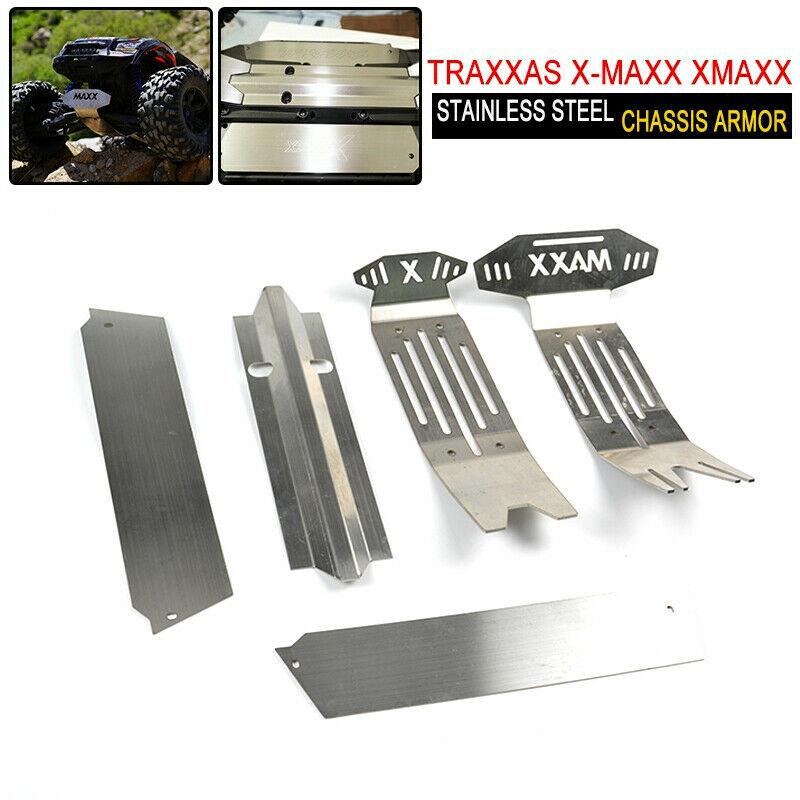 1 ensemble acier inoxydable Châssis Armure Plaque de protection pour Traxxas X-Maxx XMAXX acier inoxydable Châssis Armure Plaque de protection Creux Version