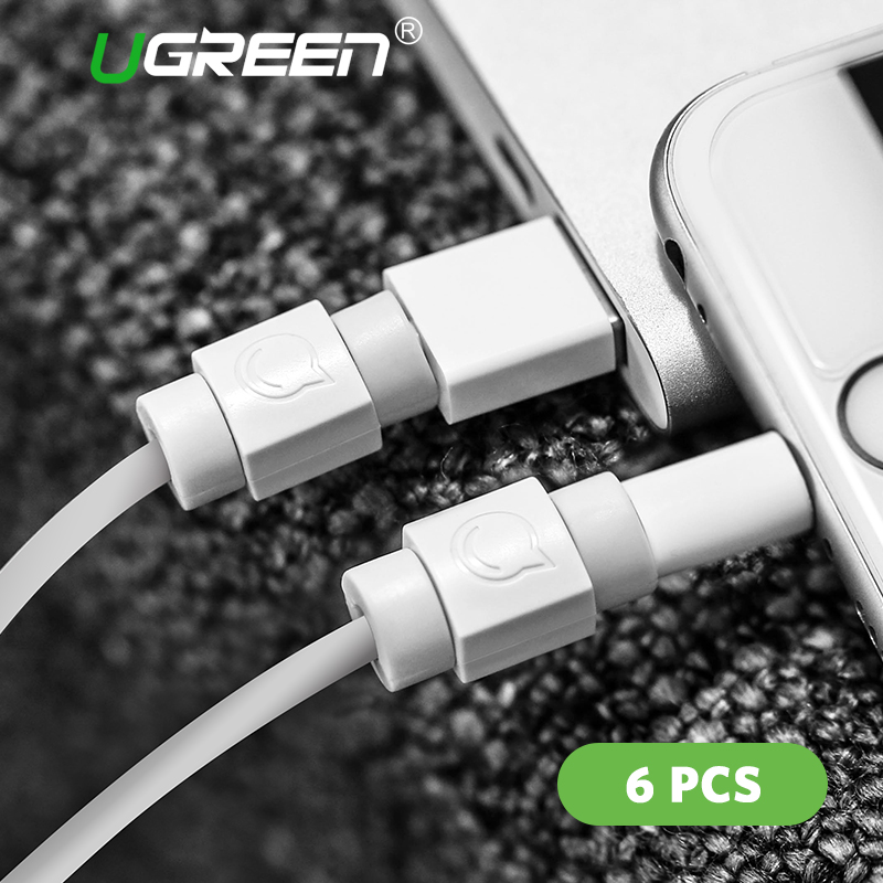 Ugreen 6PCS Cable Protector for Original iPhone Cable Charger USB Cable Winder for iPhone x 8 6 7Data Cable Organizer Cord Saver zuczug 3pcs 60cm spiral cord protector wrap cable winder for usb charger cable cute animal organizer for data cable earphone