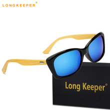 LongKeeper Wood Sunglasses Men Bamboo Sun glass Brand Design Goggles Gold Mirror Sun Glasses Shades lunette glasses With Case