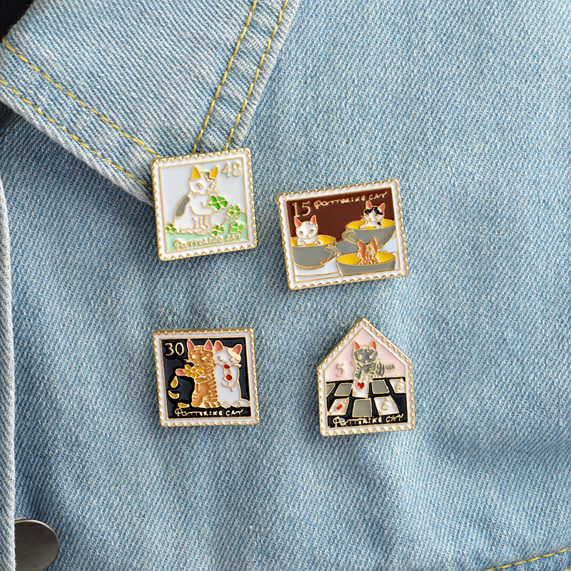 4pcsset Animal Trendy pins Cute animal jewelry gifts Creative Cartoon Cute Cat Enamel Brooch Pins Denim Clothes for kids