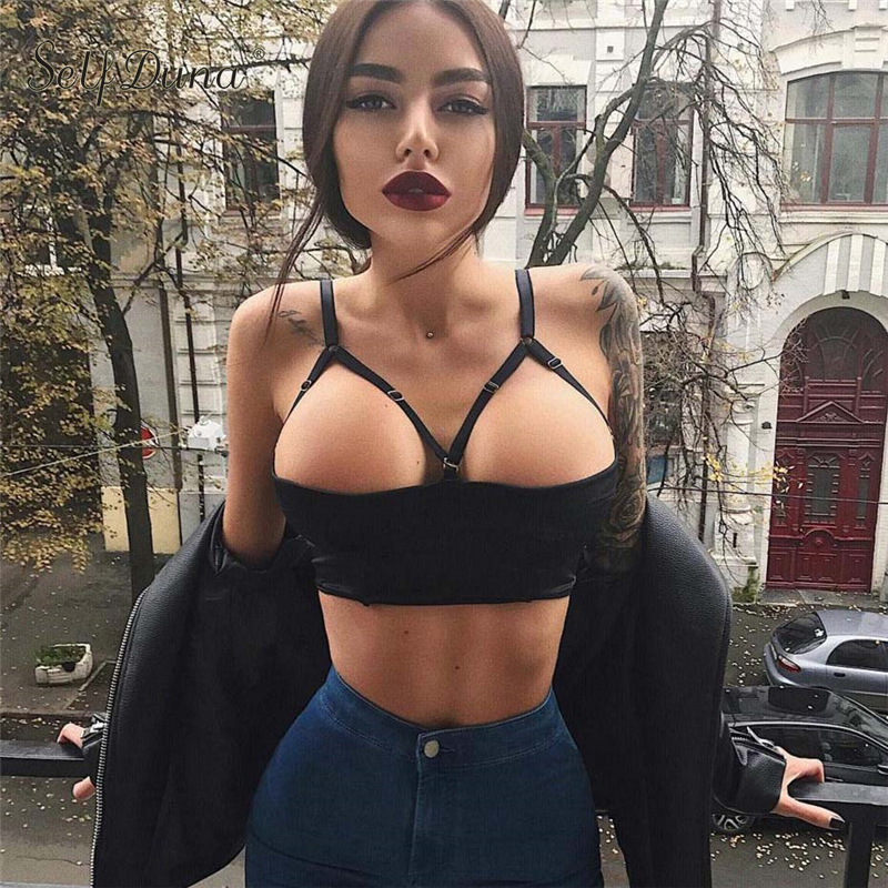 Self Duna 2019 Women Sexy Black   Tanks     Top   Short Camisole Crop   Top   Club Vest Adjustable Strap Party Nightclub   Tanks   Camis