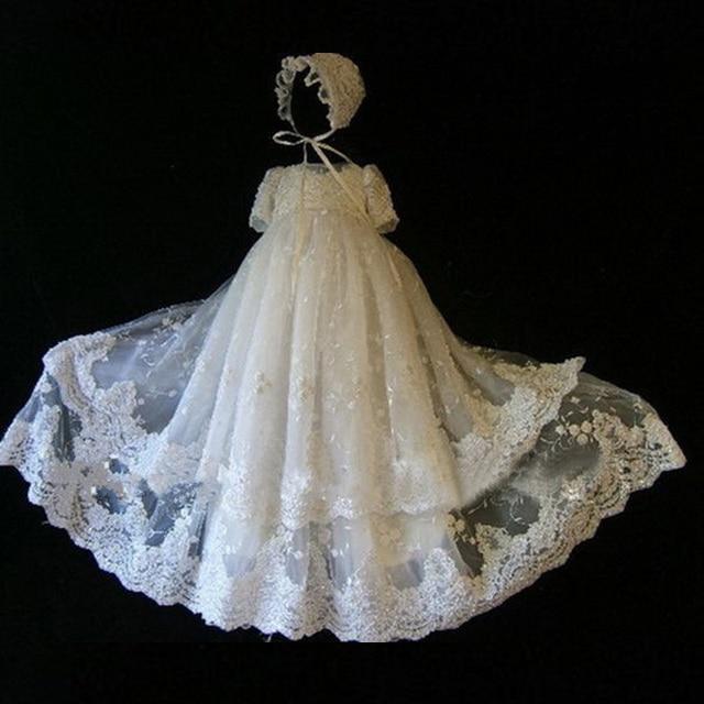 ADK Девочки Крещение Платье Длина Стопы пользовательские Дворец благородных кружева тюль baby dress Малышей Свадьбу Dress 6 М 12 М 18 М 24 М