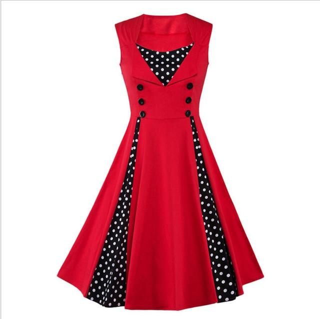 Women Vintage 50s 60s Polka Dot Dress Patchwork Sleeveless Red ...
