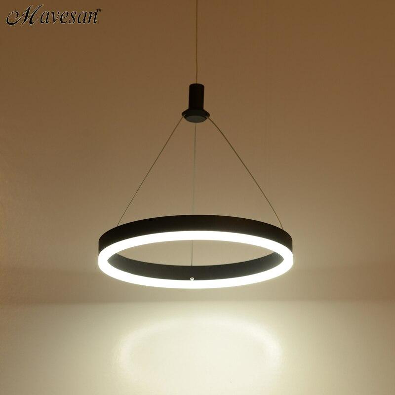 Современные светодиодные светильники подвесные для столовой акриловые круглые круг подвесной светильник 85-265 В Led Столовая Кухня подвеска ...