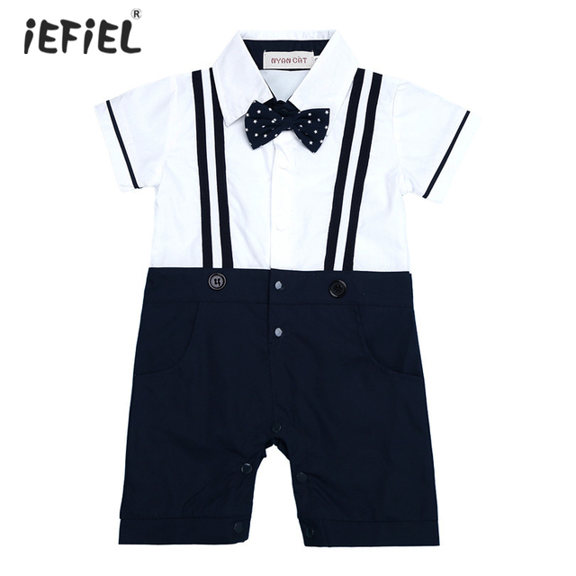 13b1843d39b White and Navy Blue Tuxedo Baby Boys Short Sleeves Gentleman One-piece  Romper Jumpsuit sets Formal Tuxedo Suit Romper Jumpsuit
