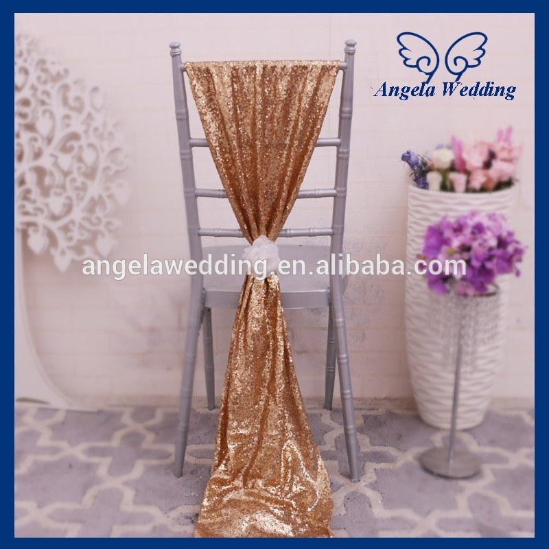 SH005A Nice new elegant fancy wedding gold sequin chair sash with flower
