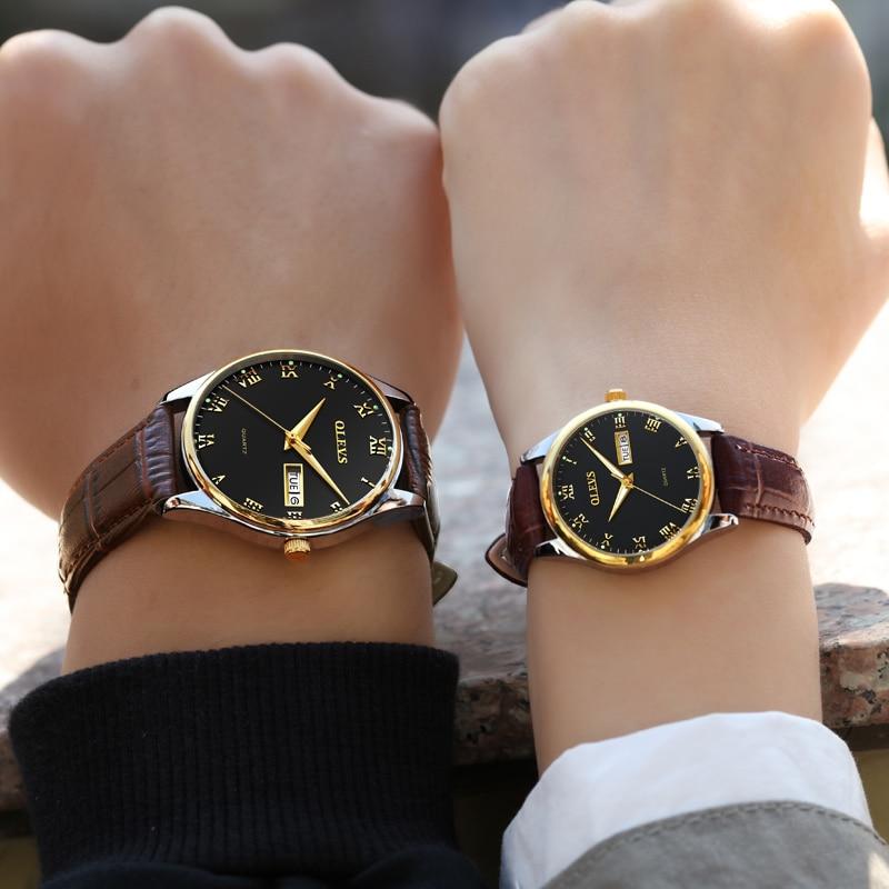 Couple Watch Mens Women Watches OLEVS Luxury Brand Quartz High Quality Relogio Masculino Leather Lovers Watch Erkek Kol Saati