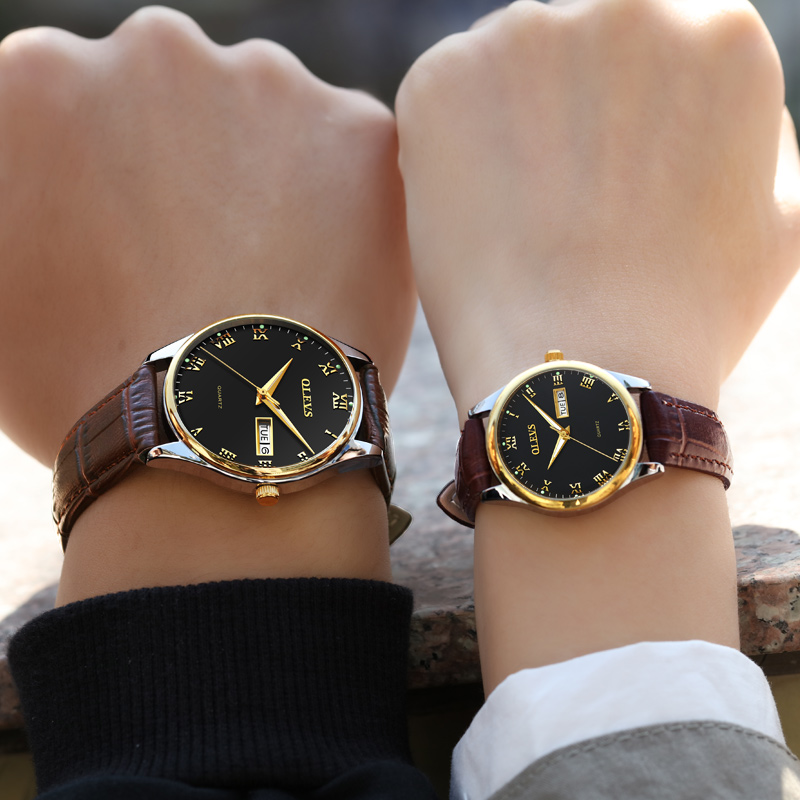Couple Watch Mens Women watches OLEVS Luxury brand Quartz High quality relogio masculino Leather Lovers watch erkek kol saati