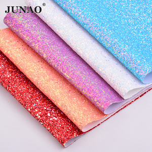JUNAO 20*34cm Chunky Glitter Faux Leather Sheets Leatherette Sequins Fabric PU Leather Artificial Synthetic Leather DIY Crafts(China)