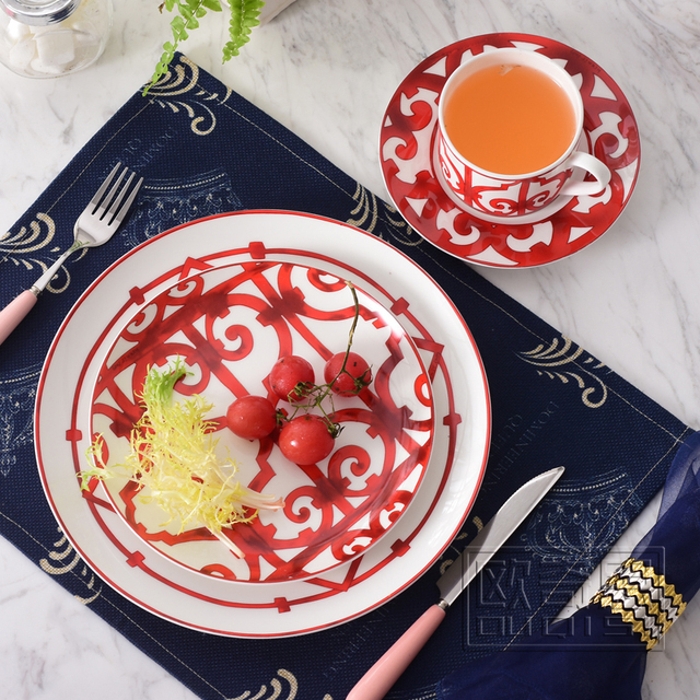 European Style Ceramic dinnerware set bone china fashion Red design 4pcs dinnerware sets Striped dinner set & European Style Ceramic dinnerware set bone china fashion Red design ...