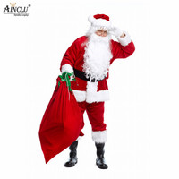 Ainclu Adult Santa Claus Costume Suit Plush Father Fancy Clothes Xmas Cosplay Props Men Coat Pants Beard Belt Hat Christmas Set