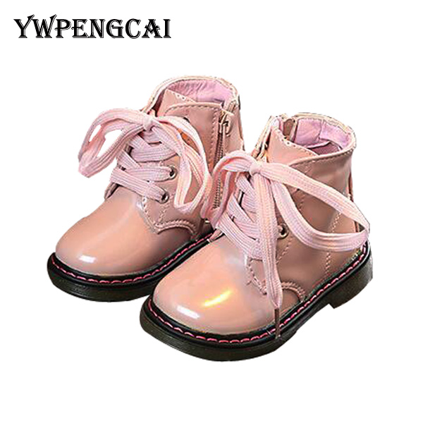 Girl Boots Toddler Shiny Spring Martin Pink Autumn White-Color Patent Ankle for 1-6-Years