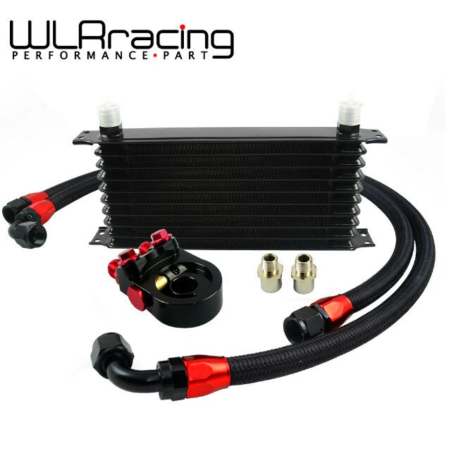 WLR - Universal 10 ROWS Trust type OIL COOLER+AN10 Oil Sandwich Plate Adapter with Thermostat+2PCS NYLON BRAIDED HOSE LINE BLACK vr universal 13 rows trust type oil cooler an10 oil sandwich plate adapter with thermostat 2pcs nylon braided hose line