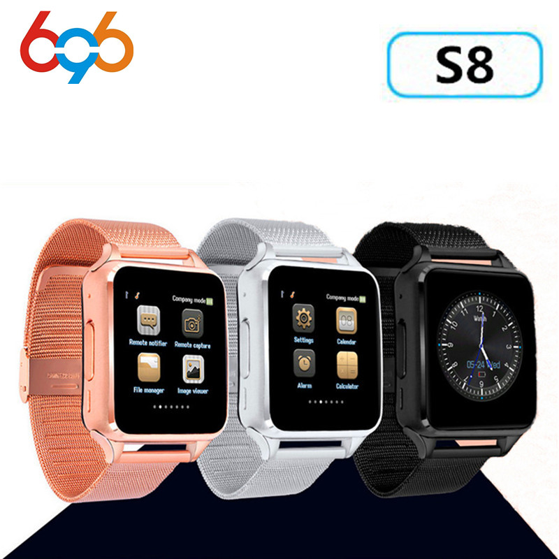 696 Smart Watch S8 X6 Metal Clock Sync Notifier Support Sim TF Card Bluetooth Connectivity Android&IOS Phone Alloy Smartwatch S8 696 smart watch q18 clock sync notifier support sim sd card bluetooth connectivity android phone smartwatch sport pedometer