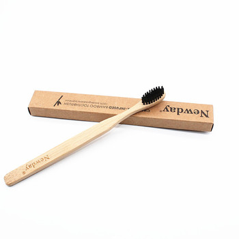 10 Pieces Bamboo Toothbrush for Adults Wood Toothbrush Bamboo Soft-bristle Tip Charcoal for adults oral care LOGO custom tooth 1