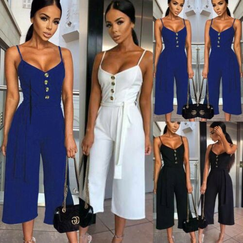 2019 New Style Women Sexy V-Neck Sleeveless Strapless   Jumpsuit   Ladies Summer Casual Loose Clothes Black White Navy Blue S-XL