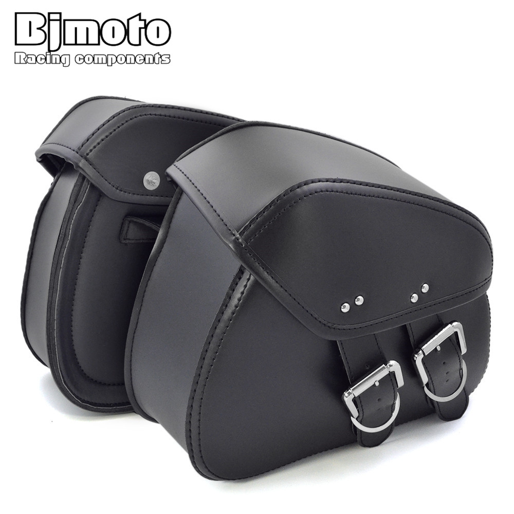 BJMOTO 2017 NEW Motorcycle PU Leather Saddlebags Saddle with Ample Space to Store Tool Pouch Side Bag For Harley