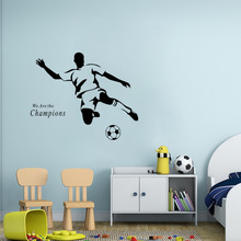 Soccer Wall Sticker Football player Decal Sports Decoration Mural for Boys Kids Room Decor(China)