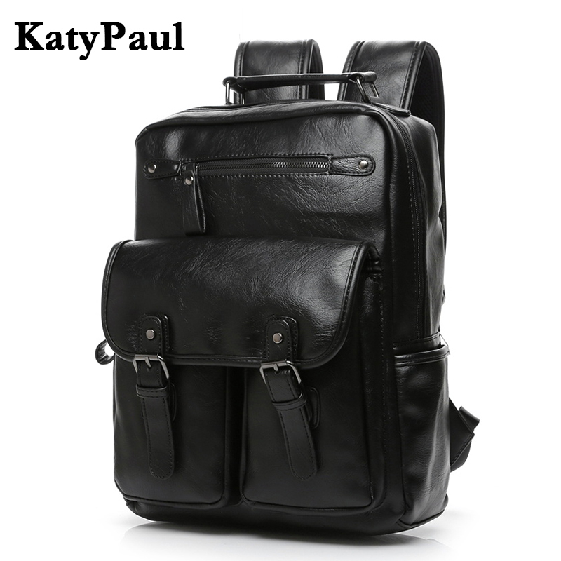 KatyPaul Brand Leather Men School Backpack College Simple Travel Large Capacity Laptop Shoulder Bag Male Casual Daypacks Mochila chic canvas leather british europe student shopping retro school book college laptop everyday travel daily middle size backpack