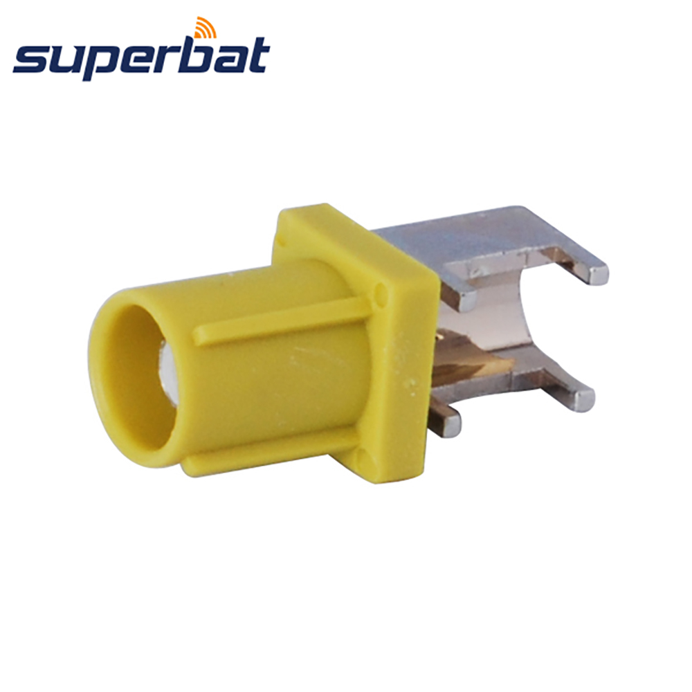 Superbat Fakra Male Plug End Launch PCB Mount Right Angle Curry Radio With IF Curry/1027 Connector