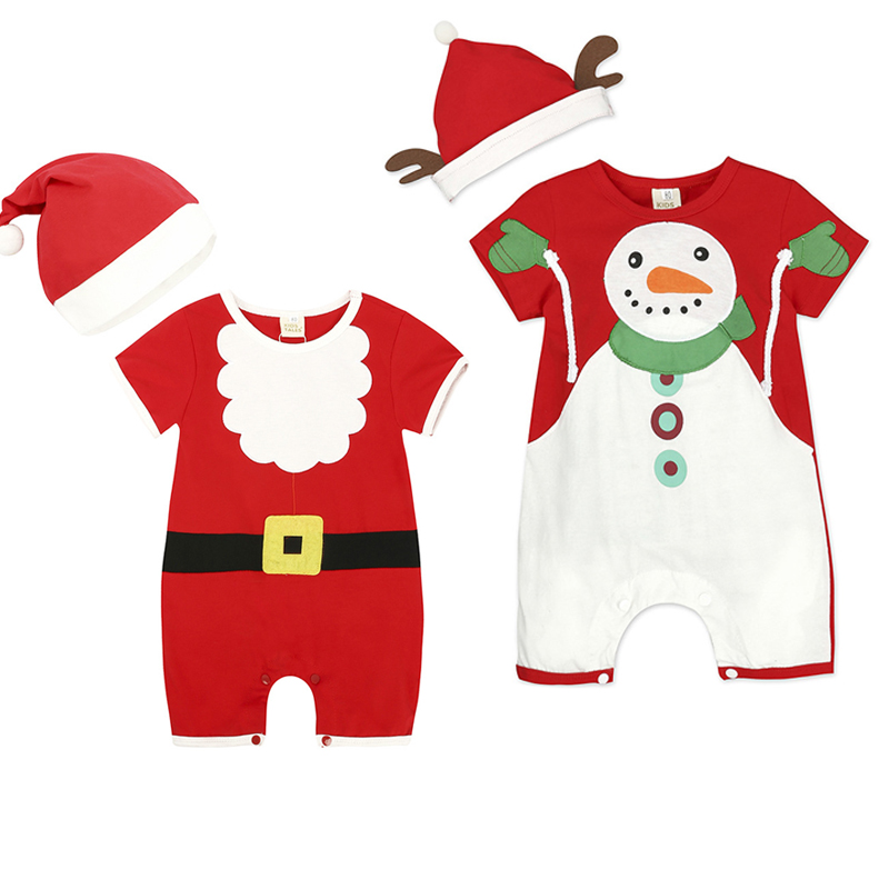 New Christmas Clothes Baby Rompers Boy Girl Kids Romper Hat Cap Set Santa Claus Baby Costume Christmas Gift New Year Red Clothes
