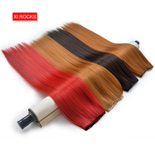 WJLZ5050 1pieces Xi Rocks Long Hair Extension Natural Straight Clip In wigs Extensions Synthetic Hairpiece Clips Fake wig